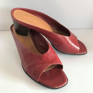 Liz Claiborne Slip-on Block Heel Red Mule Sz 9.5M